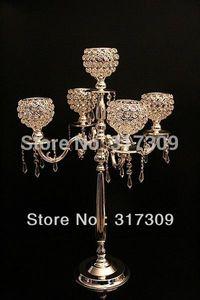 Wholesale-4Pcs Lot, Fedex EMS Free Ship, H76cm Crystal Globe 5 Lights Candelabra, Candle Holder, Centerpiece for wedding