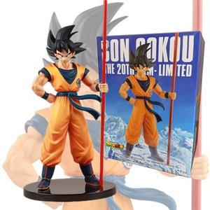 20. Yıldönümü Dragon Ball Z Güneş Goku Altın sopayla Dragon Ball Super Saiyan Goku Eylem Şekil Anime heykelcik Modeli Bebek Oyuncak Y200104