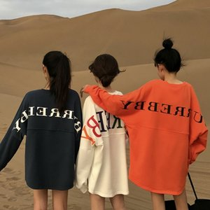 스트리트 문자 인쇄 여성 운동복 봄 2019 O 목 긴 소매 풀오버 니트 오버 사이즈 후드 티셔츠