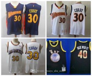 Retro Curry Golden StateWarriorsRitorno al passato Jersey Stephen Curry 30 Navy White Vintage pullover di pallacanestro S-XXL
