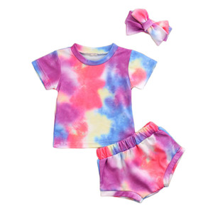 Baby Girl Clothes Set 6M-3T Gradient 2020 Summer Short Sleeve Casual T-shirt Tie Dye Shorts Outfits Headband Clothing 2PCs