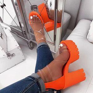 HEFLASHOR las mujeres transparentes de sandalias de tacón dedos del pie del color del caramelo zapatillas abiertas del talón grueso femenino Diapositivas de Verano Sandalias