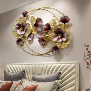 New Chinese Wrought Iron Ginkgo Leaf Flower Wall Hanging Decoration Home Livingroom Wall Mural Crafts Hotel Sticker