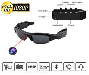1080P gafas de sol de la cámara con la puerta reproductor MP3 Bluetooth Full HD mini DV DVR gafas de sol Sale el apoyo TF tarjeta grabadora de vídeo