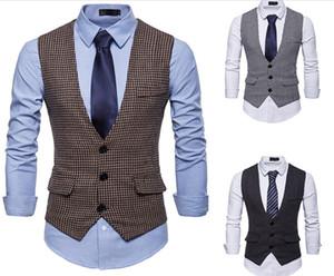 새로운 웨딩 드레스 Houndstooth 조끼 코튼 남자의 패션 디자인 정장 조끼 카키 블랙 하이 엔드 남성 비즈니스 캐주얼 정장 조끼 J181222