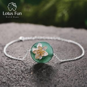 Lotus Fun Real 925 Sterling Silver Natural Stones Creative Handmade Fine Jewelry Lotus Whispers Bracelet For Women Brincos J 190429