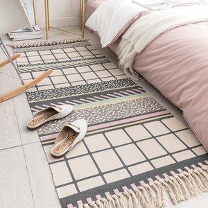 2019 New Cotton and Linen Tassel Woven Floor Mat Door Bedroom Tapestry Decorative Blanket Tea Living Room Carpet area rug Y200527