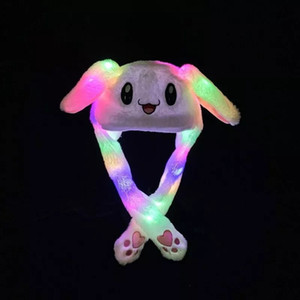 2020 Influencer Rabbit Ear Hat Cute Caps Plush Embroidery Rabbit Ear Hat Gift for Kids Girls Wrap Warm Hat movable ear cap with LED light