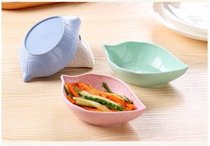 Creative Leaves Wheat Straw Soy Sauce Dish Rice Bowl Sub Plate Japanese kitchen Tableware Food Container