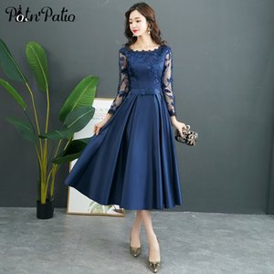 Navy Blue Long Sleeve Evening Dress A-line -Length Satin Evening Gown Long Mother Of The Bride Dresses Plus Size