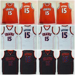 대학 15 Camerlo Anthony Syracuse 오렌지 유니폼 오렌지 블랙 화이트 컬러 팀 Anthony University Jerseys 농구 유니폼 고품질