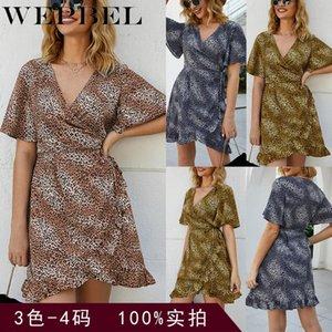 WEPBEL Women Dress Leopard Print Lotus Leaf Slim Fit Party Dress летние каникулы пляжный стиль V-образным вырезом Vestidos одежда