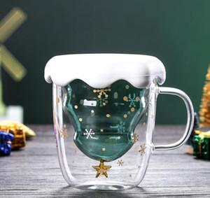 크리스마스 트리 유리 컵 머그컵 내열 더블 레이어 안경 Bottes 아침 식사 오트밀 우유 컵 맞춤 머그컵 GGA2689를 마시는