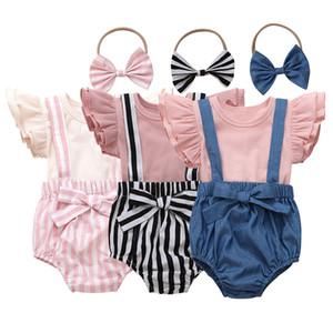 ملابس الأطفال الصيفية مجموعات الكم الطائر قمصان T-T-Shirt T + بنطلون قصير مخطط قوس + Headbands 3pcs / sets أطفال ملابس M1689