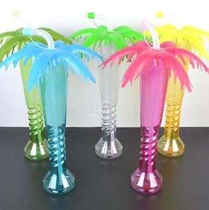 Hindistan cevizi hurma ağacı Yard Kupası Hawaii Plaj Çocuklar Parti Bardak Kapağı Straw Cap Plaj Partisi Dekor şişe LJJK2210