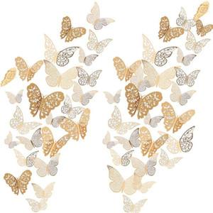 Kreative 12 Teile / satz 3D Hohl Goldsplitter Schmetterling Wandaufkleber DIY Kühlschrank Aufkleber Glitter Kunst Wandbilder für Wand oder Partydekorationen