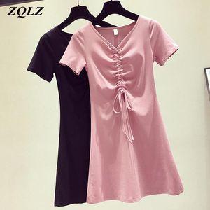 ZQLZ Summer Dress Women 2020 New Casual Mini Sexy V-neck Short Sleeve Vestidos Slim Black Beach Elegant Dresses Female