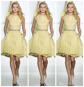 2020 Zuhair partido de los vestidos de fiesta cortos Murad desgaste de cóctel Vestidos de encaje apliques de gasa vestido de los vestidos de noche barato vestido túnica de cóctel