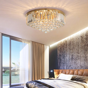 lámparas de araña de acero inoxidable redondas cristalinas de la lámpara lámparas de techo contemporánea de oro nueva llegada de iluminación llevado de la lámpara de salón dormitorio