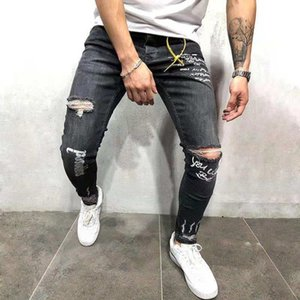 Autumn men's Tight Pants jeans and jeans stretch hole English printed gray leggings men's style