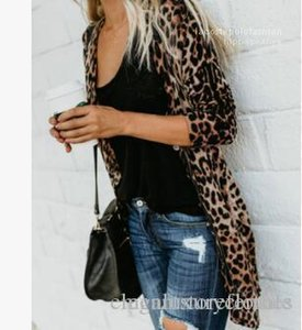 Длинные кнопки Печать Одежда Куртка весна осень дизайнер пальто V-образным вырезом Sexy Women Leopard моды пальто