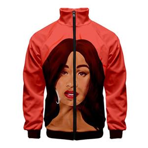 Fashion-Карди B 3D печати Личность Zipper Sweaahirts женщин людей Unisex Стенд воротник одежды Мода Cacual с длинным рукавом