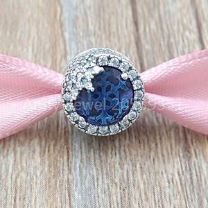 Autentico Argento 925 perline azzurro abbagliante Charms Snowflake Charm Adatto bracciali monili europei di stile Pandora Collana 796358NTB