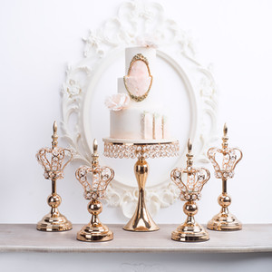 Europe Crown Candlestick Wrought Iron Stand Gold Candle Holders Wedding Centerpieces Christmas Candelabra Home Table Decoration
