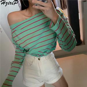 Hzirip Coréen 2019 Nouveau Printemps Été Vente Chaude Femmes Flare Manches Rayé Slim Tout-Match De La Mode Top Femme Slash Neck T-shirt