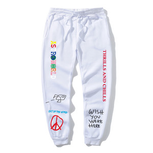 carta Travis Scott AstroWorld la impresión de los pantalones de lana de alta calidad deportes de los hombres ropa de calle pantalones de jogging hip hop pantalones de los hombres de las mujeres