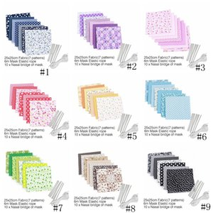 أقنعة DIY محلية الصنع الغبار قناع المطبوعات قناع قماش لخياطة مع حبل الأذن مطاطا الفرقة حبل DIY قناع مجموعة GGA3382-1