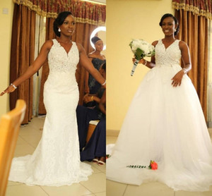 African Mermaid Wedding Dresses with Detachable Train Skirt 2020 V Neck Lace Applique Beaded Custom Made Wedding Bridal Gown Plus Size