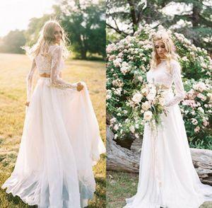 2020 Duas peças vestidos de noiva de praia de mangas compridas rosa pescoço de laço tule varrer trem personalizado feito de casamento vestido nupcial vestido de novia