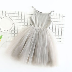 2018 New Baby Girls Sling Ball Dresses трикотажные хлопчатобумажные сетки жилет балетная пачка Dress Summer Girl Party Vestidos 2-9Years DQ360 Y200317