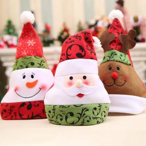 Porcellana Cappello di Natale 28 * 34 centimetri non tessuto 3D stampati Babbo Natale del pupazzo di neve Elk Party Hats Xmas Rosso Cap OOA7296-1