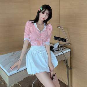 2020 summer new velvet retro splicing lace V-neck Rhinestone button up blouse bubble sleeve lace shirt