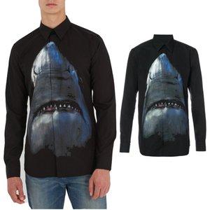 Imprimir Design Tubarão Shirt In Black Fashion Casual Manga comprida Camisa Casual Fit Masculino vestido Social Business camisa dos homens Vestuário 12452