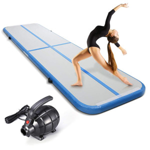 Inflatable Gymnastics Air Track Tumbling Mat Thickness Airtrack Mat with Electric Air Pump for Cheerleading Practice Gymnastics