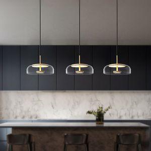 Llevada moderna de la lámpara Iluminación Sala Comedor Bar nórdico contemporáneo de la lámpara de techo de cristal lustre luz