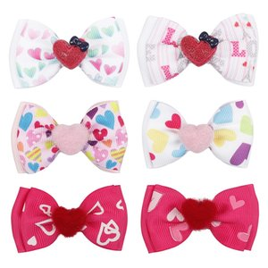 Cute Baby Hair Bows Valentine's day Baby Fur Ball Love Heart Barrettes for Girls Double Bowknot Hair Clips Kids hair Accessories M1991