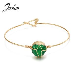 Joolim Jewlery all'ingrosso / verde blu della resina bianca Druzy pietra quarzo BRACCIALI spostato legare braccialetto per le donne