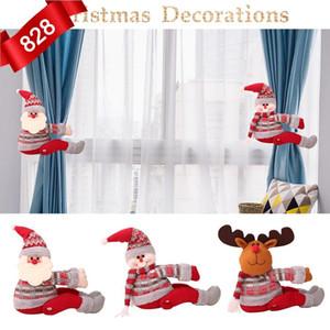 Hebilla de la cortina de Navidad Navidad decoración para el hogar de Santa Claus muñeco de nieve Supplies regalos de Navidad Decoración por la Ventana ambiente festivo