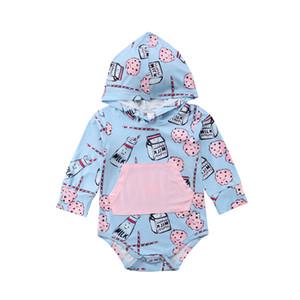 Yenidoğan Bebek Boys Kız uzun kollu pamuklu Jumpsuit bir adet Bebek cep Kapşonlu Geometri sonbahar bodysuit çocukları giysi