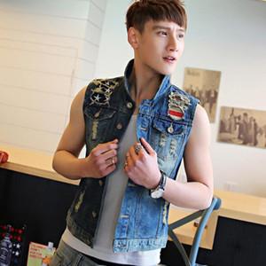 Moda 2020 Cool Yeni Koreli hip hop öğrencilerin İnce Denim Vest Erkek Denim Vest Omuz Delik Casual kolsuz ceket weste