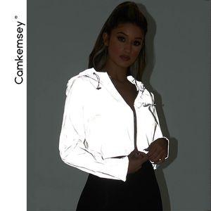 CamKemsey Fashion Night Reflektierende Street Jacken Frauen 2019 Frühling Herbst Langarm Sportbekleidung Mit Kapuze Jacken Mäntel