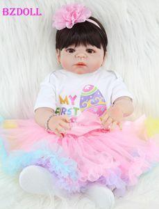 BZDOLL 55cm Full Silicone Reborn Girl Baby Doll Toys Realistic Newborn Princess Babies Doll Lovely Birthday Gift Present Y191207