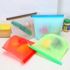 Restaurant and kitchen supplies silicone storage containers leakproof reusable standing zipper bag fresh storage bag