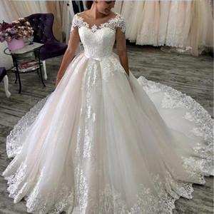 Lusso maniche corte in pizzo Appliques i vestiti da sposa Metà 2020 telaio della corte del treno del gioiello del collo di Tulle Abiti da sposa Wedding