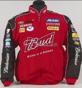 Invierno Motocicleta Race Budweiser chaqueta Moto para hombres Escudo bordado regular