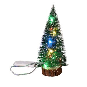Christmas Decorations Christmas Desktop Bauble Green Hoarfrost Side With Led Lights Pine Needles Dusting Mini Christmas Tree